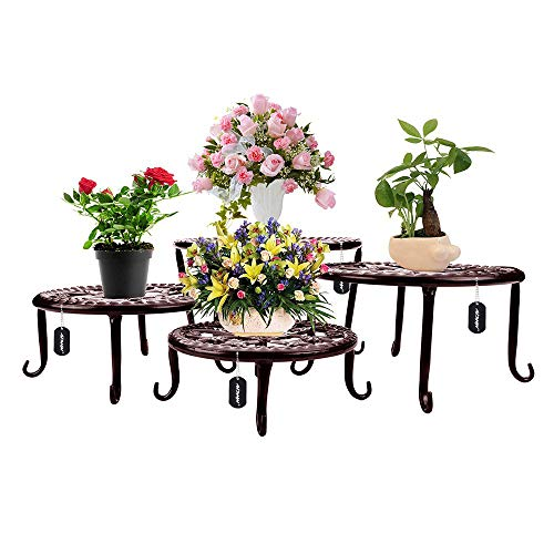 Metal Plants Stand Flowerpot Holder Iron Art Pot Holder, AISHN Flower Pot Supporting Indoor Outdoor Garden Pack of 4pcs with Different Size (Chevron Stand Plant)