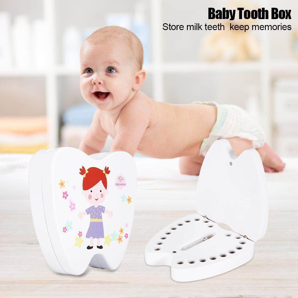 Impresi/ón linda Dientes de madera Almacenamiento Dientes Colecci/ón Ahorro Cajas de memoria Contenedor de recuerdo para ni/ños White Little Girl Caja de almacenamiento de dientes