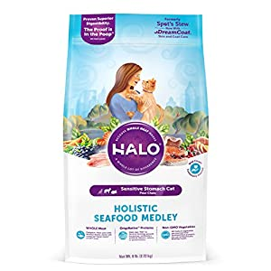Halo Natural Dry Cat Food, Sensitive Stomach Seafood Medley, 6-Pound Bag 50