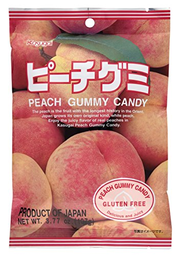 Kasugai Gummy Candy, Peach, 3.77-Ounce Packages (Pack of 12)