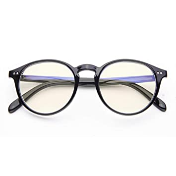b61e61e5707 Blue Light Blocking Glasses Vintage Round Frame Eyeglasses for Women Men  Black