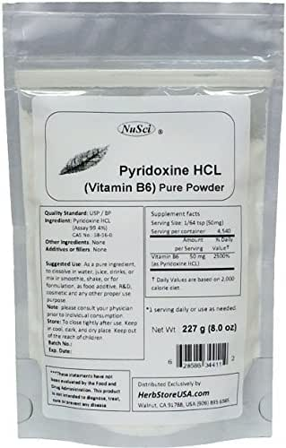 NuSci Pyridoxine HCl Vitamin B6 Pure Powder 8.0 oz (227 g)