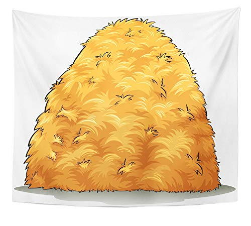 - Emvency Tapestry Wall Hanging Brown Hay Showing Haystack on White Pile Farm Farmer Field Grass Clipart Decay 50