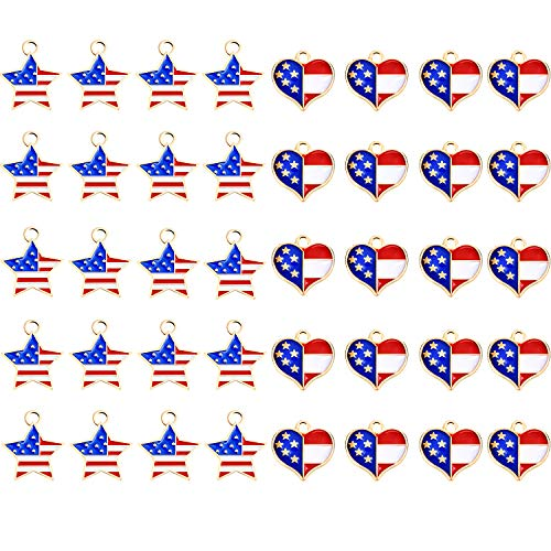 40 Pieces American Flag Heart Charms USA Star Charms Heart Flag Pendant with Gold Plated Ornament for 4th of July DIY -