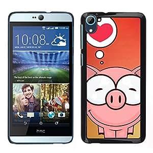 // PHONE CASE GIFT // Duro Estuche protector PC Cáscara Plástico Carcasa Funda Hard Protective Case for HTC Desire D826 / Cute Pig Love /