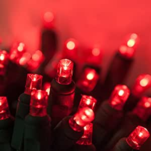LED Christmas Mini Light Set, 5mm Lights, Indoor / Outdoor Christmas Light Decorations, 120V UL Certified, Green Wire (50 lights, 25 ft, Red)