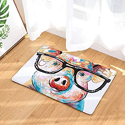 Amazon Com Yq Park Universal Door Mat Glasses Oil Painting Pig