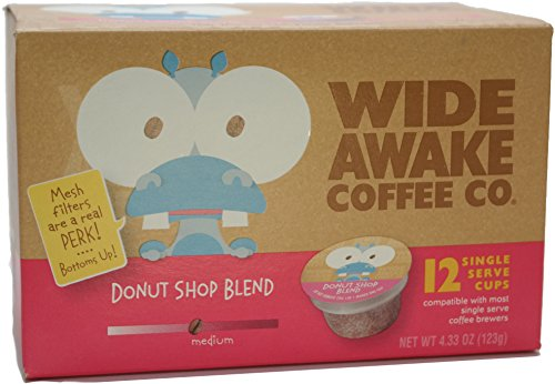 Wide Awake Coffee Donut Shop Blend Single Serve Cup, 12 Count (Pack of 3)