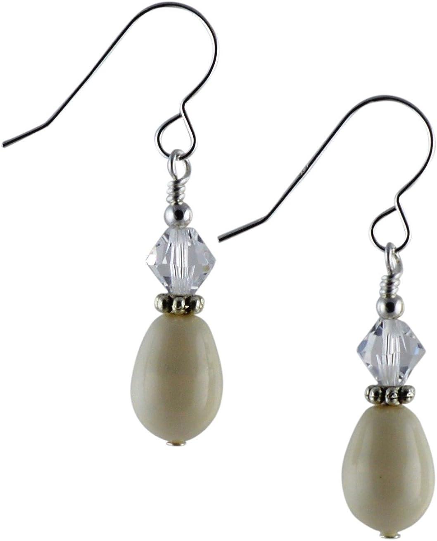 Pendientes de gota con perla de cristal de Swarovski de color marfil, cristal y plata de ley con caja de regalo