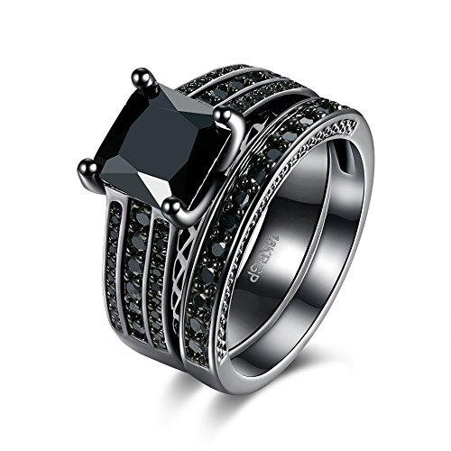 Eternity Love Wedding Bands Women's 18K Black Gold Plated Rings Princess Cut Blue/Green/Purple/Black CZ Crystal Engagement Rings Best Promise Rings Anniversary Wedding Rings for Lady Girl, Black, (Homemade Basketball Hoop Costume)