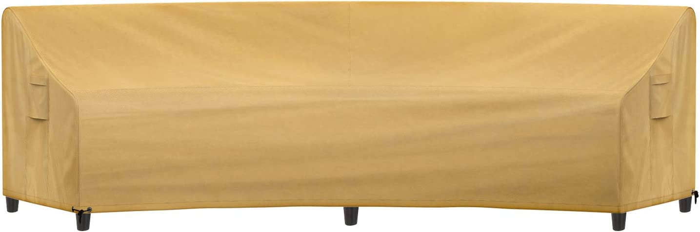 """Sunkorto Patio Curved Sofa Cover, Waterproof Outdoor Furniture Cover Garden Couch Cover with Air Vents & Drawing String Hem, 112"""" FL, 150"""" L x 36"""" D x 38"""" H, Light Brown"""
