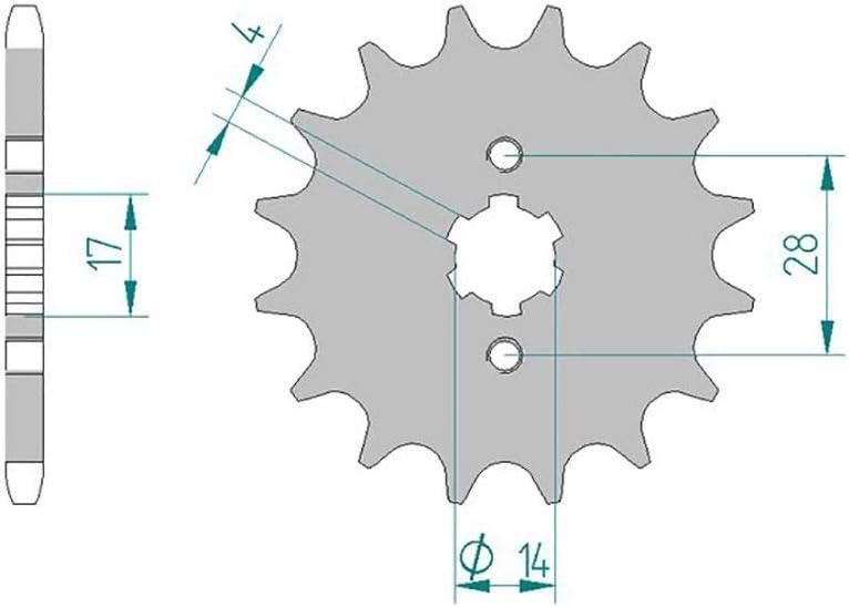 passend f/ür Terra 125 TS1A1A 2009-2012 Kettensatz AFAM 428M