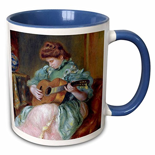 (3dRose BLN Music Featured in Fine Art Collection - Femme a la Guitare 1896 by Pierre Auguste Renoir Woman Playing Guitar - 15oz Two-Tone Blue Mug (mug_171351_11))