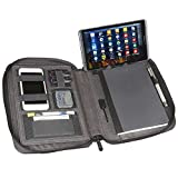 Artistic Zippered Padfolio Universal Tablet/iPad Organizer & Charger w/ 5000mAh Power Bank - Fits iPad/Tablets Up to 10'', Heather Gray