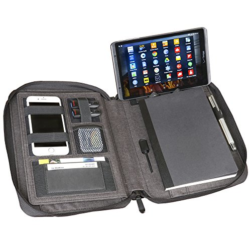 Artistic Zippered Padfolio Universal Tablet/iPad Organizer & Charger w/ 5000mAh Power Bank - Fits iPad/Tablets Up to 10