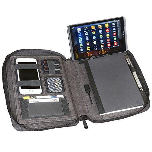 Artistic Zippered - Funda Universal para Tablet/iPad, Organizador de portafolios y Cargador USB (5000 mAh Power Bank),...