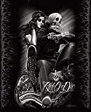 Ride or Die Biker Babe Super Soft Queen Size Plush Blanket 79'' x 95''
