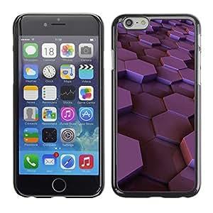 Cubierta de la caja de protección la piel dura para el Apple iPhone 6 (4.7) - hexagon purple glossy plum 3d dimensional