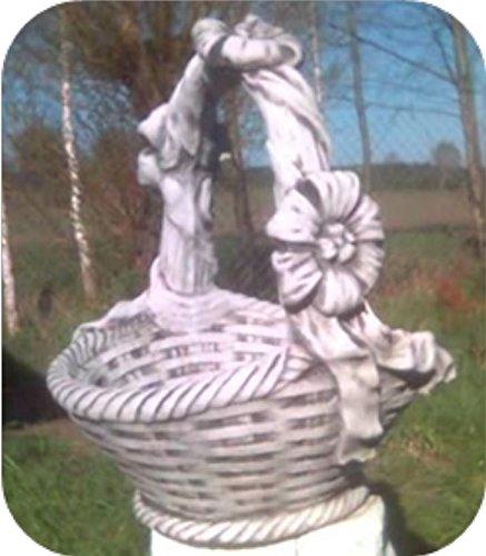 Blumenkorb mit Schleife / weiß mit Schattierungen (B60), Pflanzgefäß aus Steinguss, Höhe: 60 cm, Gewicht: 35 kg