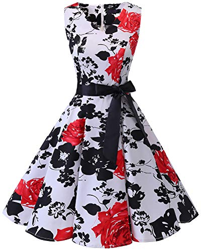Bridesmay Women's V-Neck Audrey Hepburn 50s Vintage Elegant Floral Rockabilly Swing Cocktail Party Dress White Red Flower L