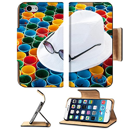 Liili Premium Apple iPhone 6 iPhone 6S Flip Pu Leather Wallet Case IMAGE ID 32713261 close up white hat and subglasses on colorful painting on glass arranging for abstract - Subglasses Shop