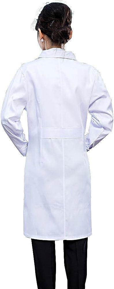 Bata de Trabajo para Disfraz de Fiesta Uniforme Halloween con Mangas Largas Blanca para Mujer
