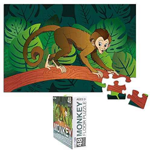 - Floor Puzzles for Kids - 48-Piece Giant Floor Puzzle, Jungle Monkey Jumbo Jigsaw Puzzles for Toddlers Preschool, Toy Puzzles for Kids Ages 3-5, 2 x 3 Feet