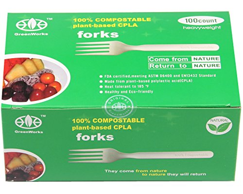 GreenWorks 100% Biodegradable Compostable CPLA Cornstarch Disposable Cutlery FORKS,100 Ct 7