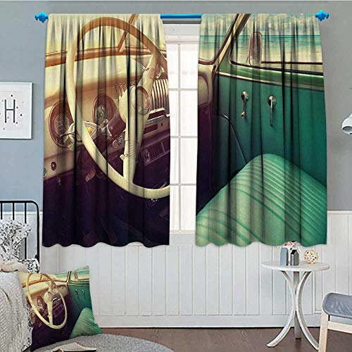 """alilihome Coastal Patterned Drape for Glass Door Interior of a Classic Car Parked Seaside and The Cloudy Sky Digital Print Waterproof Window Curtain 55"""" W x 63"""" L Cream and Jade Green"""