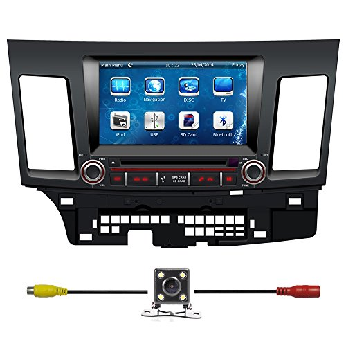 Bluelotus Mitsubishi Lancer 2008 2009 2010 2011 2012 2013 Double Din In-dash 8 Inch Touch Screen TFT LCD Monitor Car GPS Navigation System Car Stereo DVD Player with Bluetooth TV Radio,Steering Wheel Control,RDS Sd usb Ipod Av BT AUX IN Free Backup Camara Free Gps Map of US