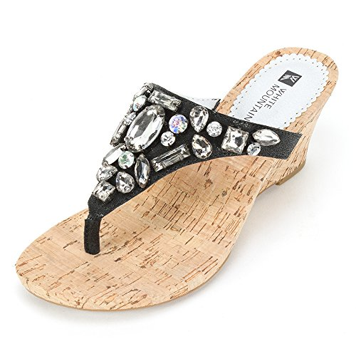 Mountain Onyx (White Mountain 'ABLAZE' Women's Sandal, Onyx Leather - 9.5 M)