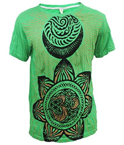 Yoga Shirts - Omtimistic Men's Hindu Aum 'Flower Patterns & Om Symbol' T-Shirt - Large (Gangster Outfits For Men)