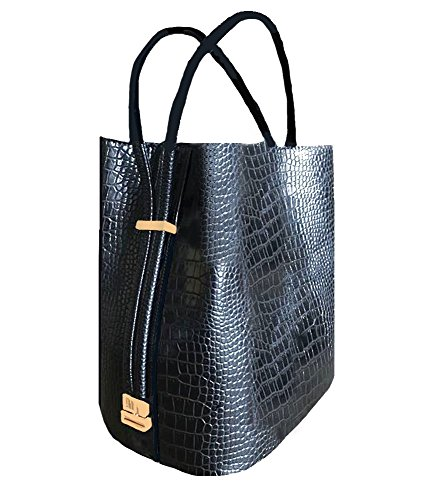 'Harley' Designer Inspired Black Croco Handbag with Matching Double Handles by Samoe Style by Samoe Style