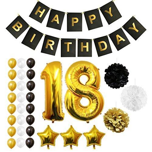 BELLE VOUS Globos Cumpleanos Happy Birthday, Suministros y Decoracion Globo Grande de Aluminio - Decoracion Globos De Latex Dorado, Blanco y Negro - Apto para Todos los Adultos (Age 18)