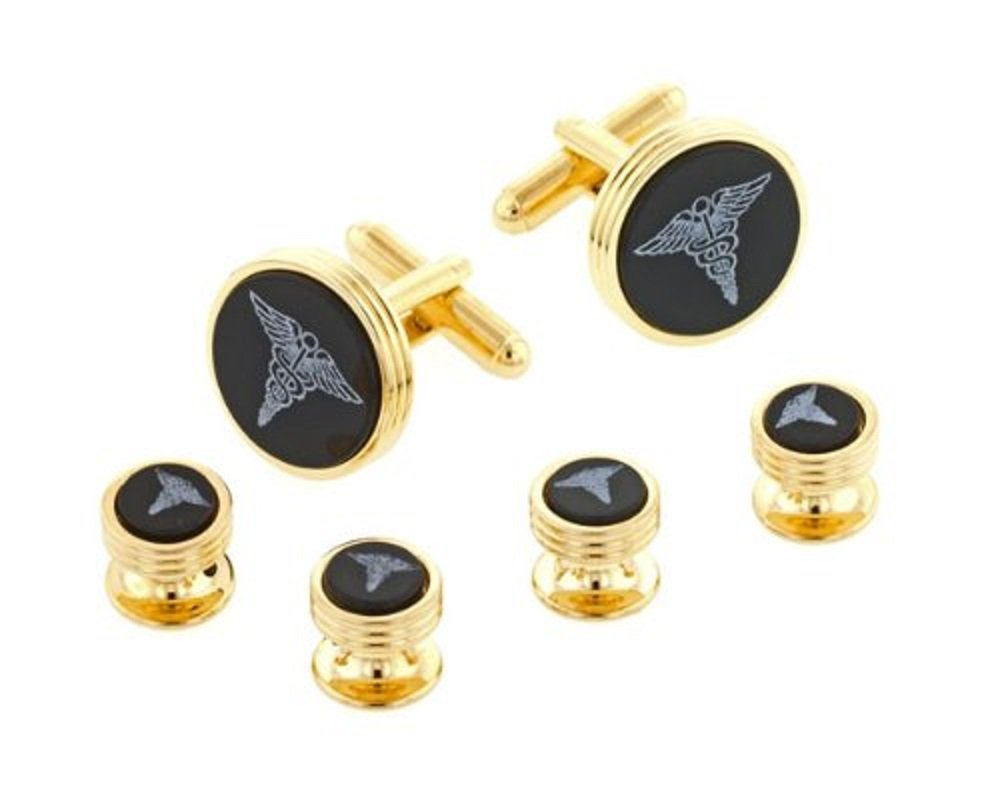 JJ Weston Onyx Etched Caduceus Doctor Tuxedo Cufflinks and Shirt Studs. Made in the USA.