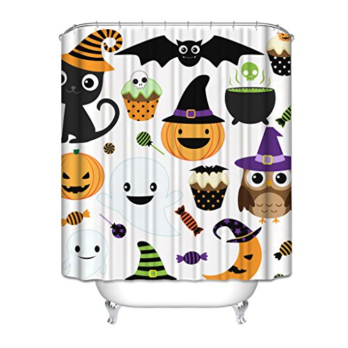 HGOD Designs Gift for Halloween, Halloween Party Decor Colletion Cat Pumpkin Ice Cream Bat Sugar Moon Owl And Ghost Waterproof Polyester Shower Curtain 72 * 72 with (Halloween Party Designs)