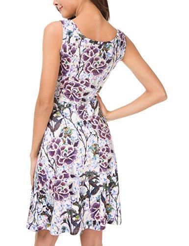 565226fc6097 Herou Women Sleeveless Beach Casual Flared Floral Tank Dress (Large,  Flower-34)
