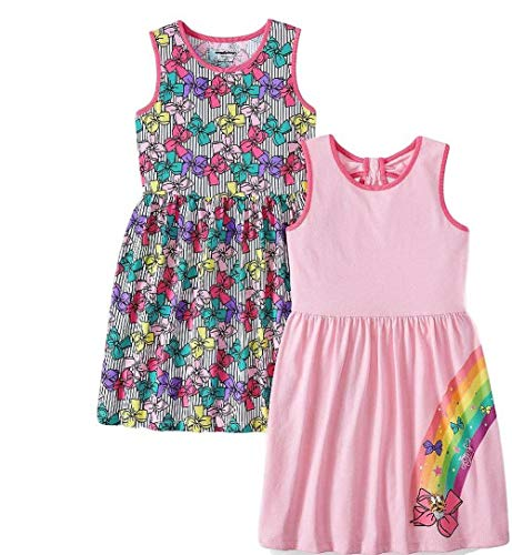 JoJo Siwa Girl Summer Dress Collection 2 Cotton Bow Sleeveless (6-6X) Pink -