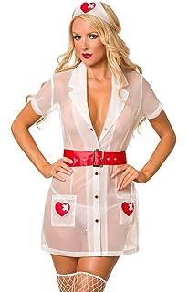 c60d1598ceffd Amazon.com: Sexy Lingerie Nurse Costume Set for Women 3106a: Clothing