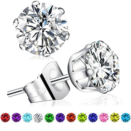 Birthstone Stud Earrings, Swarovski Element AAA Cubic Zirconia Stainless Steel Earrings for Women Girls (April Diamond)