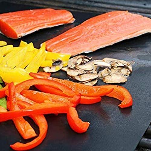 MathRose BBQ Grillmatten, 3er Set BBQ Antihaft Grill-und Backmatte Wiederverwendbar PFOA-Frei - Toll über Kohle, Gas und Weber Style Grills - Perfekt für Fleisch, Fisch und Gemüse 40x33 cm