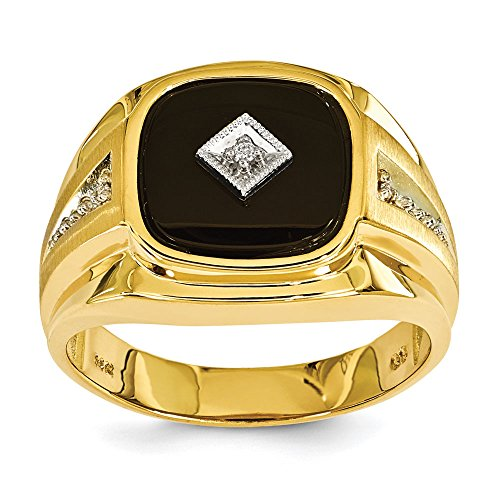 (Men's 14K Yellow Gold Genuine Diamond Black Onyx Ring (0.024 CTTW, I-J Color, I2 Clarity) )