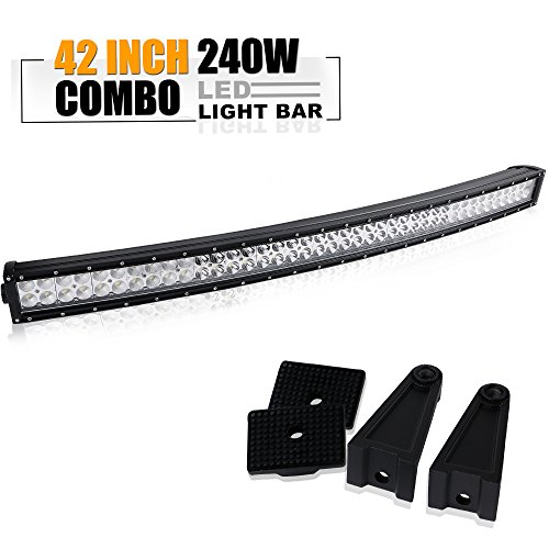 40-42In Curved Led Light Bar On Grille Front Bumper Roof Rack For Ford F150 Truck Dodge Ram 2500 3500 Polaris Jeep Cherokee Toyota Tacoma Can Am Maverick SXS Marine Yamaha YXZ Wildcat Limited (Bar Grille)