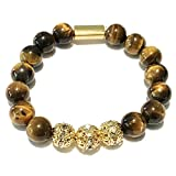Beaded Bracelet 10mm Tiger Rescuer Tigers Eye Healing Genuine Gemstone Prayer Beads with Golden Accents