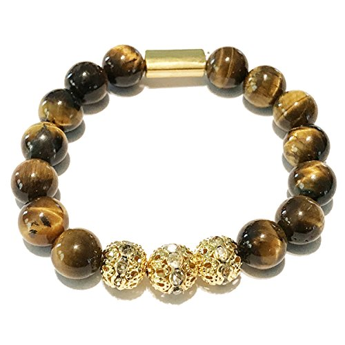 Gold Tone Tigers Eye Bracelet - Genuine Tiger Eye Stone Bead Stretchy Elastic Bracelet with Gold Tone Faceted Accents, 8mm, Friendship, Couples