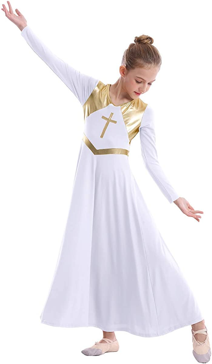 Girls Metallic Cross Liturgical Praise Dance Dress Loose Fit Full Length  Worship Costume Lyrical Dancewear for Kids
