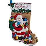 BUCILLA 86702 Felt Applique Stocking Kit Santas Visit, Size 18""