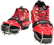 Yatta Life Heavy Duty Trail Spikes 14-Spikes Ice Grip Snow Cleats Footwear Crampons for Walking, Jogging, or Hiking on Snow