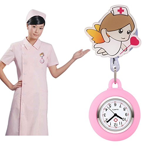 Top Plaza Girls' Kid's Cute Lovely Cartoon Angel Silicone Nurse Clip-on Fob Brooch Hanging Easy Pull Clasp Stretch Analog Quartz Pocket Watches,Set of 3#1 by Top Plaza (Image #5)