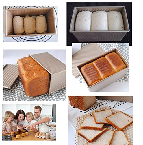 Pullman Loaf Pan w Cover Bread Toast Mold Non Stick Gold Aluminized Steel 8.35x4inch by Monfish (Image #5)